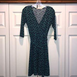 41 Hawthorn Geometric Print Faux Wrap Dress XS